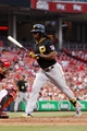 Jun 17, 2013; Cincinnati, OH, USA; Pittsburgh Pirates center fielder Andrew McCutchen (22) is hit by a pitch during the fourth inning against the Cincinnati Reds at Great American Ball Park. Mandatory Credit: Frank Victores-USA TODAY Sports
