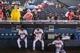 June 17, 2012; Atlanta, GA, USA; Atlanta Braves starting pitcher Julio Teheran (49), third baseman Ramiro Pena (14) and starting pitcher Kris Medlen (54) sit in the dugout during a rain delay before the game against the New York Mets at Turner Field. Mandatory Credit: Daniel Shirey-USA TODAY Sports
