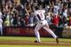 June 17, 2012; Atlanta, GA, USA; Atlanta Braves first baseman Freddie Freeman (5) celebrates a walk off two-run hime run in the ninth inning against the New York Mets at Turner Field. The Braves won 2-1. Mandatory Credit: Daniel Shirey-USA TODAY Sports