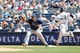 Jun 23, 2013; Bronx, NY, USA;  New York Yankees third baseman David Adams (39) steps to first as Tampa Bay Rays first baseman James Loney (21) waits for the ball  during the fourth inning at Yankee Stadium.  Mandatory Credit: Anthony Gruppuso-USA TODAY Sports