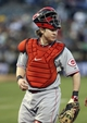 Jun 25, 2013; Oakland, CA, USA; Cincinnati Reds catcher Ryan Hanigan (29) between plays against the Oakland Athletics during the fourth inning at O.co Coliseum. Mandatory Credit: Kelley L Cox-USA TODAY Sports