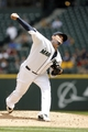 Jun 26, 2013; Seattle, WA, USA; Seattle Mariners pitcher Felix Hernandez (34) throws against the Pittsburgh Pirates during the second inning at Safeco Field. Mandatory Credit: Joe Nicholson-USA TODAY Sports