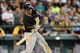 Jun 26, 2013; Seattle, WA, USA; Pittsburgh Pirates shortstop Jordy Mercer hits an RBI-single against the Seattle Mariners during the ninth inning at Safeco Field. Pittsburgh defeated Seattle, 4-2. Mandatory Credit: Joe Nicholson-USA TODAY Sports