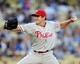 Jun 28, 2013; Los Angeles, CA, USA;  Philadelphia Phillies starting pitcher John Lannan (27) during the first inning of the game against the Los Angeles Dodgers at Dodger Stadium. Mandatory Credit: Jayne Kamin-Oncea-USA TODAY Sports