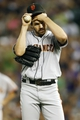Jun 28, 2013; Denver, CO, USA; San Francisco Giants pitcher Barry Zito (75) reacts after giving up a home run during the third inning against the Colorado Rockies at Coors Field.  Mandatory Credit: Chris Humphreys-USA TODAY Sports