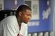 June 30, 2013; Los Angeles, CA, USA; Philadelphia Phillies first baseman Ryan Howard (6) during the eighth inning at Dodger Stadium. Mandatory Credit: Gary A. Vasquez-USA TODAY Sports