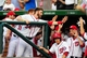 Jul 1, 2013; Washington, DC, USA; Washington Nationals outfielder Bryce Harper (34) high fives teammates during the game against the Milwaukee Brewers at Nationals Park. Mandatory Credit: Evan Habeeb-USA TODAY Sports