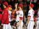 Jul 1, 2013; Washington, DC, USA; Washington Nationals outfielder Bryce Harper (center) high fives shortstop Ian Desmond (20) after beating the Milwaukee Brewers 10-5 at Nationals Park. Mandatory Credit: Evan Habeeb-USA TODAY Sports