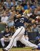 Jun 27, 2013; Milwaukee, WI, USA; Milwaukee Brewers catcher Martin Maldonado during the game against the Chicago Cubs at Miller Park. Mandatory Credit: Benny Sieu-USA TODAY Sports