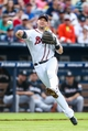 Jul 2, 2013; Atlanta, GA, USA; Atlanta Braves third baseman Chris Johnson (23) throws to first for an out in the fourth inning against the Miami Marlins at Turner Field. Mandatory Credit: Daniel Shirey-USA TODAY Sports