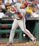 Jul 2, 2013; Pittsburgh, PA, USA; Philadelphia Phillies catcher Carlos Ruiz (51) is hit by a pitch by the Pittsburgh Pirates during the fifth inning at PNC Park. Mandatory Credit: Charles LeClaire-USA TODAY Sports