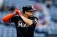 Jul 3, 2013; Atlanta, GA, USA; Miami Marlins right fielder Giancarlo Stanton (27) bats in the first inning against the Atlanta Braves at Turner Field. Mandatory Credit: Daniel Shirey-USA TODAY Sports