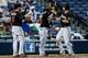 Jul 3, 2013; Atlanta, GA, USA; Miami Marlins center fielder Justin Ruggiano (20) celebrates a three-run home run with second baseman Donovan Solano (17), and starting pitcher Ricky Nolasco (47) in the fifth inning against the Atlanta Braves at Turner Field. Mandatory Credit: Daniel Shirey-USA TODAY Sports