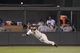 Jul 3, 2013; Minneapolis, MN, USA; Minnesota Twins outfielder Aaron Hicks (32) makes a diving catch during the eighth inning against the New York Yankees at Target Field. Mandatory Credit: Brace Hemmelgarn-USA TODAY Sports