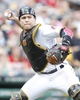 Jul 4, 2013; Pittsburgh, PA, USA; Pittsburgh Pirates catcher Russell Martin (55) throws to first base to retire a Philadelphia Phillies batter during the eighth inning at PNC Park. The Philadelphia Phillies won 6-4. Mandatory Credit: Charles LeClaire-USA TODAY Sports