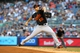 Jul 5, 2013; Bronx, NY, USA; Baltimore Orioles starting pitcher Miguel Gonzalez (50) pitches against the New York Yankees during the second inning of a game at Yankee Stadium. Mandatory Credit: Brad Penner-USA TODAY Sports