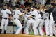 Jul 5, 2013; Bronx, NY, USA; The New York Yankees celebrate their walk off win against the Baltimore Orioles during the ninth inning of a game at Yankee Stadium. Mandatory Credit: Brad Penner-USA TODAY Sports