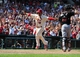Jul 6, 2013; St. Louis, MO, USA; St. Louis Cardinals center fielder Jon Jay (19) scores the game winning run on a throwing error by Miami Marlins right fielder Giancarlo Stanton (not pictured) during the ninth inning at Busch Stadium. St. Louis defeated Miami 5-4. Mandatory Credit: Jeff Curry-USA TODAY Sports