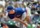 Jul 7, 2013; Milwaukee, WI, USA;  New York Mets pitcher Jeremy Hefner pitches against the Milwaukee Brewers in the 1st inning at Miller Park. Mandatory Credit: Benny Sieu-USA TODAY Sports