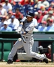Jul 7, 2013; Washington, DC, USA; San Diego Padres second baseman Alexi Amarista (5) hits a single during the second inning against the Washington Nationals at Nationals Park.  Mandatory Credit: Brad Mills-USA TODAY Sports