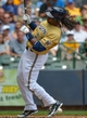 Jul 7, 2013; Milwaukee, WI, USA;  Milwaukee Brewers second baseman Rickie Weeks is hit by a pitch in the 2nd inning during the game against the New York Mets at Miller Park. Mandatory Credit: Benny Sieu-USA TODAY Sports