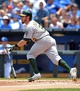Jul 7, 2013; Kansas City, MO, USA; Oakland Athletics second baseman Eric Sogard (28) connects for a double in the second inning of the game against the Kansas City Royals at Kauffman Stadium. Mandatory Credit: Denny Medley-USA TODAY Sports