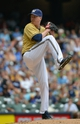 Jul 7, 2013; Milwaukee, WI, USA;  Milwaukee Brewers pitcher Tom Gorzelanny pitches in the 5th inning against the New York Mets at Miller Park. Mandatory Credit: Benny Sieu-USA TODAY Sports