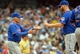 Jul 7, 2013; Milwaukee, WI, USA; New York Mets manager Terry Collins makes a pitching change in the 8th inning during the game against the Milwaukee Brewers at Miller Park.  At right is pitcher Josh Edgin.   Mandatory Credit: Benny Sieu-USA TODAY Sports