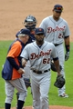Jul 7, 2013; Cleveland, OH, USA; Detroit Tigers relief pitcher Al Alburquerque (62) is taken from the game in the eighth inning against the Cleveland Indians at Progressive Field. Mandatory Credit: David Richard-USA TODAY Sports