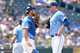 Jul 7, 2013; Kansas City, MO, USA; Kansas City Royals catcher George Kottaras (26) talks with starting pitcher Will Smith (53) at the mound in the seventh inning of the game against the Oakland Athletics at Kauffman Stadium. Oakland won 10-4. Mandatory Credit: Denny Medley-USA TODAY Sports