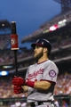 Jul 9, 2013; Philadelphia, PA, USA; Washington Nationals center fielder Bryce Harper (34) in the on deck circle during the fifth inning against the Philadelphia Phillies at Citizens Bank Park. The Phillies defeated the Nationals 4-2. Mandatory Credit: Howard Smith-USA TODAY Sports