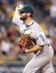 Jul 9, 2013; Pittsburgh, PA, USA; Oakland Athletics relief pitcher Ryan Cook (48) pitches against the Pittsburgh Pirates during the eighth inning at PNC Park. The Oakland Athletics won 2-1. Mandatory Credit: Charles LeClaire-USA TODAY Sports