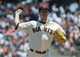 Jul 10, 2013; San Francisco, CA, USA; San Francisco Giants starting pitcher Matt Cain (18) throws the ball to first base during the first inning of the game against the New York Mets at AT&T Park. Mandatory Credit: Ed Szczepanski-USA TODAY Sports