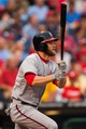 Jul 10, 2013; Philadelphia, PA, USA; Washington Nationals center fielder Bryce Harper (34) doubles during the first inning against the Philadelphia Phillies at Citizens Bank Park. Mandatory Credit: Howard Smith-USA TODAY Sports