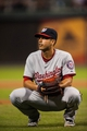 Jul 10, 2013; Philadelphia, PA, USA; Washington Nationals pitcher Gio Gonzalez (47) after giving up a bunt single during the seventh inning against the Philadelphia Phillies at Citizens Bank Park. The Nationals defeated the Phillies 5-1. Mandatory Credit: Howard Smith-USA TODAY Sports