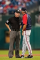 Jul 10, 2013; Philadelphia, PA, USA; Washington Nationals manager Davey Johnson argues with second base umpire Lance Barksdale during the third inning against the Philadelphia Phillies at Citizens Bank Park. The Nationals defeated the Phillies 5-1. Mandatory Credit: Howard Smith-USA TODAY Sports