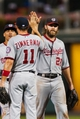 Jul 10, 2013; Philadelphia, PA, USA; Washington Nationals right fielder Jayson Werth (28) celebrates with third baseman Ryan Zimmerman (11) after defeating the Philadelphia Phillies at Citizens Bank Park. The Nationals defeated the Phillies 5-1. Mandatory Credit: Howard Smith-USA TODAY Sports