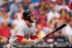 Jul 10, 2013; Philadelphia, PA, USA; Washington Nationals center fielder Bryce Harper (34) doubles during the first inning against the Philadelphia Phillies  at Citizens Bank Park. The Nationals defeated the Phillies 5-1. Mandatory Credit: Howard Smith-USA TODAY Sports