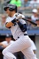 Jul 11, 2013; Bronx, NY, USA; New York Yankees designated hitter Derek Jeter (2) grounds out to third against the Kansas City Royals during the second inning of a game at Yankee Stadium. Mandatory Credit: Brad Penner-USA TODAY Sports