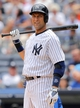 Jul 11, 2013; Bronx, NY, USA; New York Yankees designated hitter Derek Jeter (2) steps to the plate against the Kansas City Royals during the second inning of a game at Yankee Stadium. Mandatory Credit: Brad Penner-USA TODAY Sports