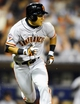 Jul 11, 2013; San Diego, CA, USA; San Francisco Giants left fielder Kensuke Tanaka (37) hits an RBI single during the sixth inning against the San Diego Padres at Petco Park. Mandatory Credit: Christopher Hanewinckel-USA TODAY Sports
