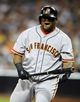 Jul 11, 2013; San Diego, CA, USA; San Francisco Giants third baseman Pablo Sandoval (48) reacts after striking out during his at bat in the seventh inning against the San Diego Padres at Petco Park. Mandatory Credit: Christopher Hanewinckel-USA TODAY Sports