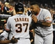 Jul 11, 2013; San Diego, CA, USA; San Francisco Giants left fielder Kensuke Tanaka (37) is congratulated by third baseman Pablo Sandoval (48) after scoring during the eighth inning against the San Diego Padres at Petco Park. Mandatory Credit: Christopher Hanewinckel-USA TODAY Sports