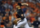 Jul 12, 2013; Baltimore, MD, USA; Baltimore Orioles pitcher Jim Johnson (43) throws in the ninth inning against the Toronto Blue Jays at Oriole Park at Camden Yards. The Orioles defeated the Blue Jays 8-5. Mandatory Credit: Joy R. Absalon-USA TODAY Sports