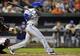 Jul 12, 2013; Baltimore, MD, USA; Toronto Blue Jays shortstop Jose Reyes (7) singles in the seventh inning against the Baltimore Orioles at Oriole Park at Camden Yards. The Orioles defeated the Blue Jays 8-5. Mandatory Credit: Joy R. Absalon-USA TODAY Sports