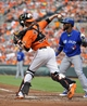 Jul 13, 2013; Baltimore, MD, USA; Baltimore Orioles catcher Matt Wieters (32) throws down to second base to catch Toronto Blue Jays left fielder Emilio Bonifacio (not shown) stealing second base in the third inning at Oriole Park at Camden Yards. Mandatory Credit: Joy R. Absalon-USA TODAY Sports