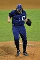 Jul 13, 2013; Cleveland, OH, USA; Cleveland Indians relief pitcher Chris Perez (54) celebrates a 5-3 win over the Kansas City Royals at Progressive Field. Mandatory Credit: David Richard-USA TODAY Sports
