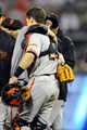 Jul 13, 2013; San Diego, CA, USA; San Francisco Giants starting pitcher Tim Lincecum (55) reacts after throwing a no hitter against the San Diego Padres at Petco Park. The Giants won 9-0. Mandatory Credit: Christopher Hanewinckel-USA TODAY Sports