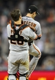 Jul 13, 2013; San Diego, CA, USA; San Francisco Giants starting pitcher Tim Lincecum (55) and catcher Buster Posey (28) react after Lincecum threw a no hitter against the San Diego Padres at Petco Park. The Giants won 9-0. Mandatory Credit: Christopher Hanewinckel-USA TODAY Sports