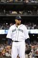Jul 13, 2013; Seattle, WA, USA; Seattle Mariners starting pitcher Felix Hernandez (34) during the 7th inning against the Los Angeles Angels at Safeco Field. Seattle defeated Los Angeles 6-0. Mandatory Credit: Steven Bisig-USA TODAY Sports